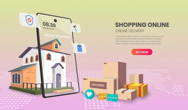 Página de aplicativo de modelos de compras online. para banner da web, infográficos, imagens de herói. imagem de herói para o site.
