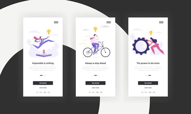 Página de aplicativo móvel de conceito de negócio ambicioso