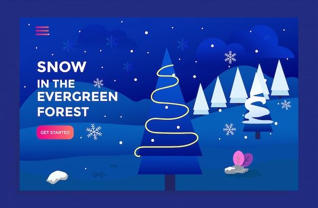 Página de aterragem com ilustração de floresta evergreen de neve