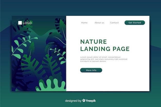 Página de aterragem com o conceito de natureza