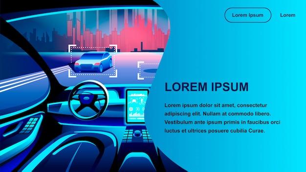 Página de aterragem da cabina do piloto do carro da inteligência artificial