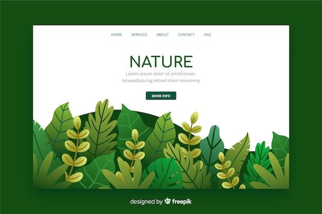 Página de aterragem da natureza com folhas