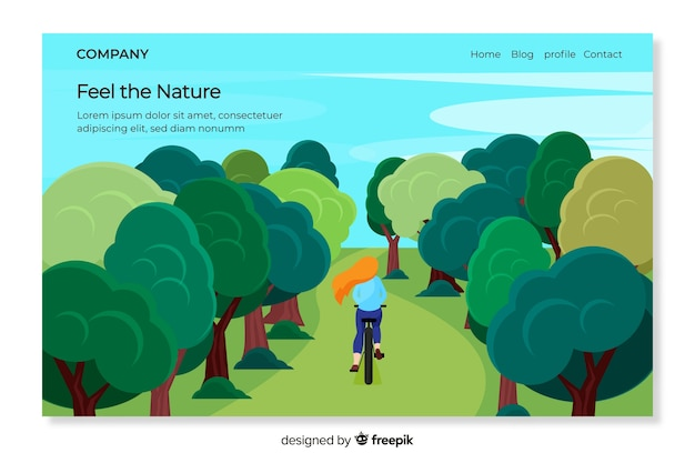 Página de aterragem da natureza com paisagem