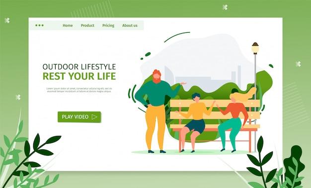 Página de aterragem de actividades ao ar livre. modelo plano de banner com pessoas conversando