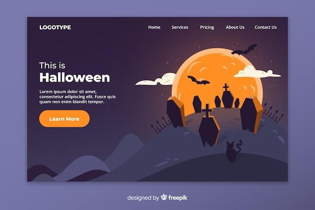 Página de aterragem de halloween plana e cemitério