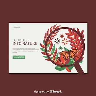 Página de aterragem de natureza grinalda de folhas