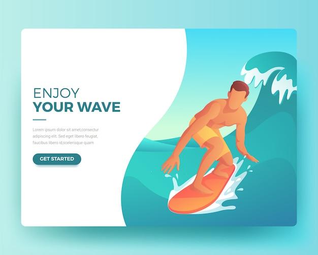 Página de aterragem de um homem a surfar no verão