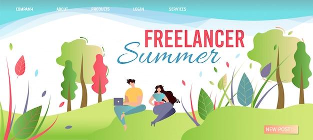 Página de aterragem de verão freelancer. ofereça trabalho em qualquer lugar.