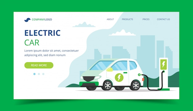 Página de aterragem do carregamento de carro elétrico - ilustração do conceito para o ambiente