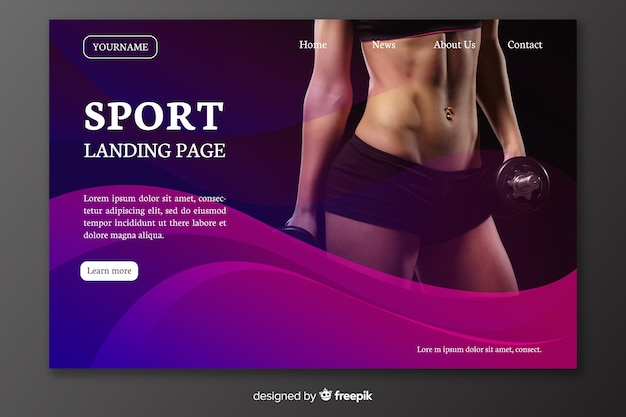Página de aterragem do esporte com barriga da mulher