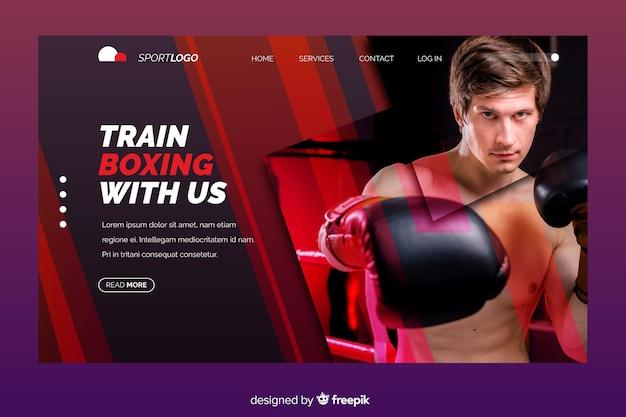 Página de aterragem do esporte com foto de boxe