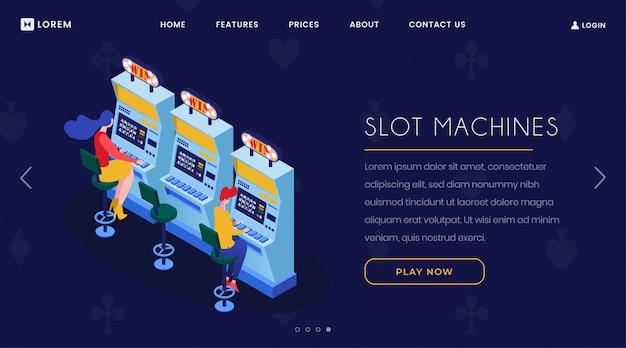 Página de aterragem isométrica das slot machines do casino