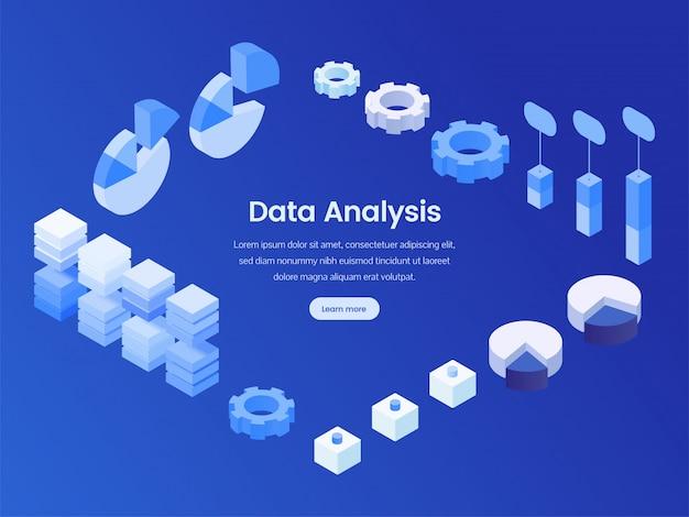 Página de aterragem isométrica de análise de dados