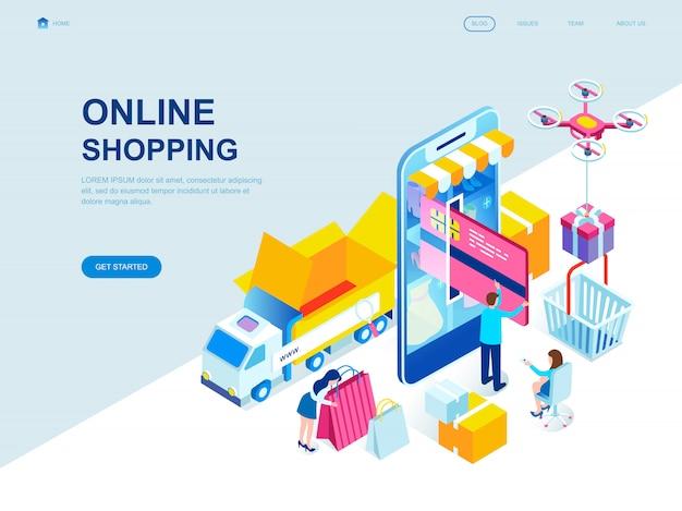 Página de aterragem isométrica design plano moderno de compras on-line