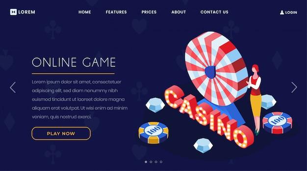 Página de aterragem isométrica do jogo de casino online