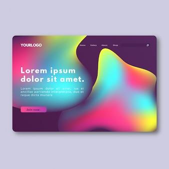 Página de aterragem líquida gradiente colorido