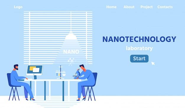 Página de aterragem plana de laboratório de nanotecnologia moderna