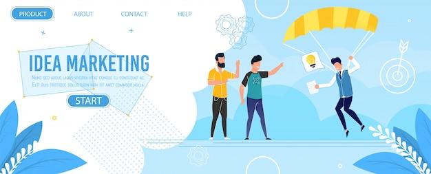 Página de aterragem plana de metáfora oferecer marketing de ideia