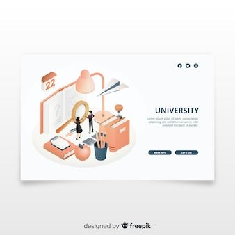 Página de aterragem universitária isométrica
