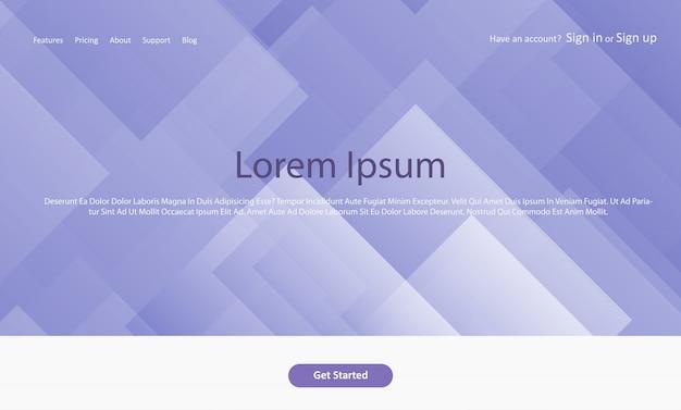 Página de aterrissagem abstrata do web site com projeto geométrico