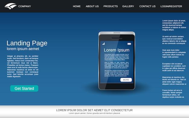 Página de aterrissagem azul com ícone realístico do smartphone