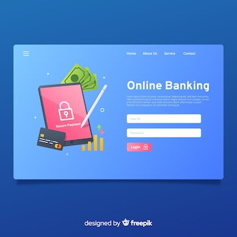 Página de aterrissagem bancária on-line