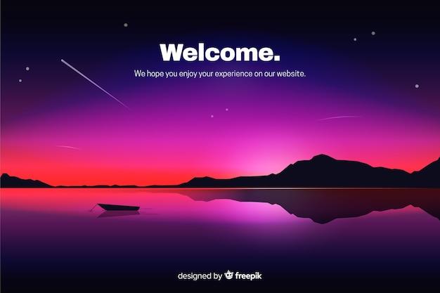 Página de aterrissagem com céu noturno gradiente