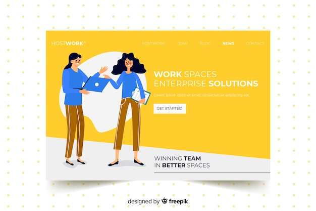 Página de aterrissagem com colegas de trabalho de design plano