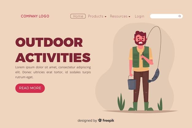 Página de aterrissagem com conceito de atividades ao ar livre