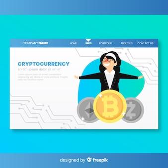 Página de aterrissagem com conceito de criptomoeda