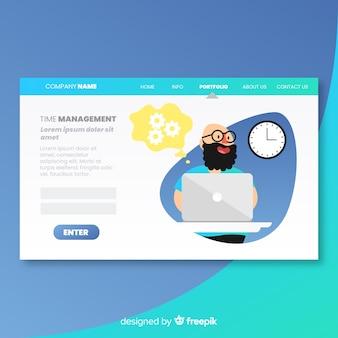 Página de aterrissagem com conceito de gerenciamento de tempo
