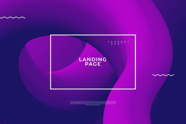 Página de aterrissagem com formato fluido roxo