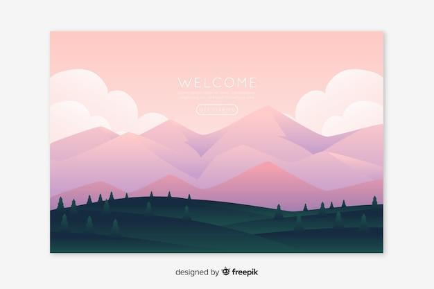 Página de aterrissagem com gradiente de montanhas rosa