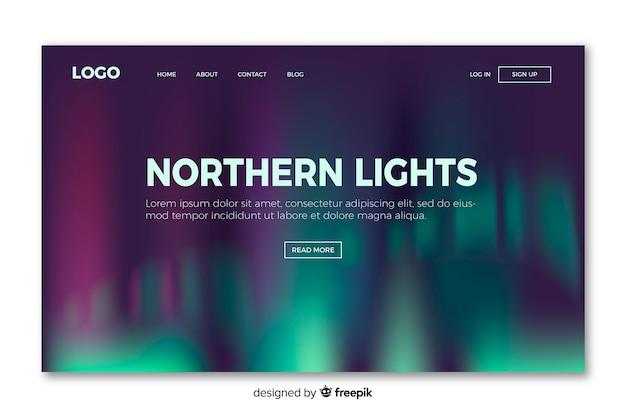 Página de aterrissagem com luzes do norte
