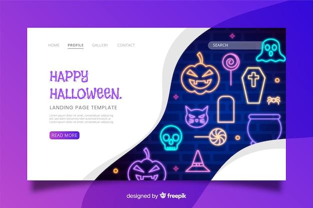 Página de aterrissagem de halloween de sinal de néon