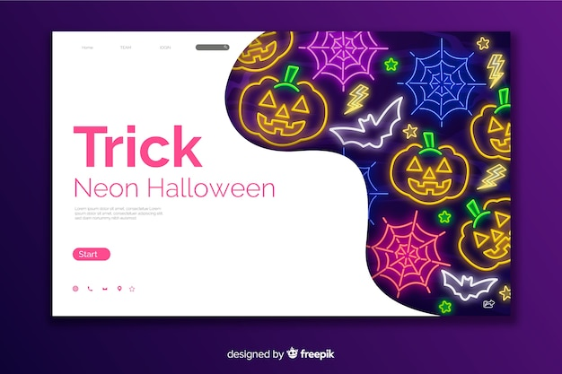 Página de aterrissagem de halloween de truque de neon