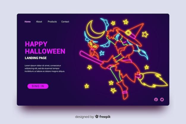 Página de aterrissagem de halloween luz de neon bruxa