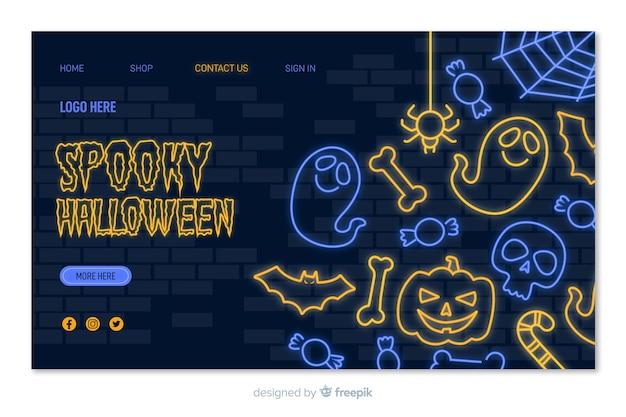 Página de aterrissagem de néon assustador de halloween
