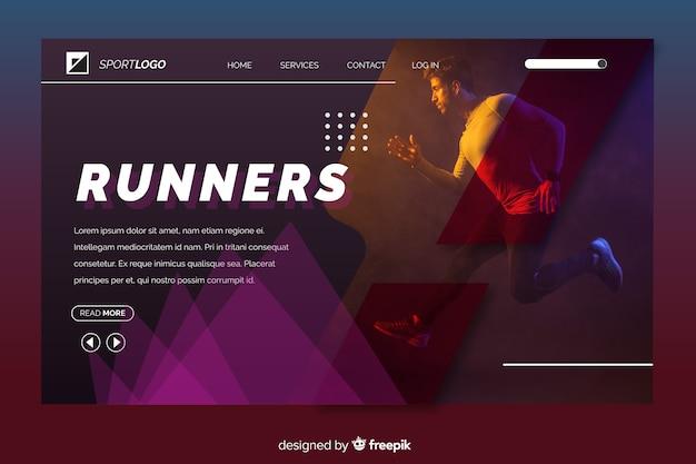 Página de aterrissagem do esporte com foto do corredor