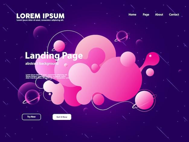 Página de aterrissagem do web site com fundo abstrato da nuvem