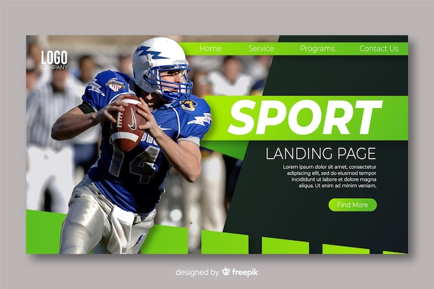 Página de aterrissagem esportiva com foto