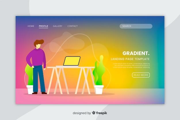 Página de aterrissagem gradiente colorida com ilustrações
