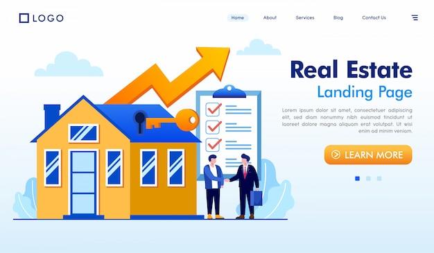 Página de aterrissagem imobiliária site ilustração vector