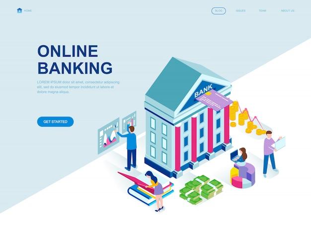 Página de aterrissagem isométrica do projeto liso moderno de internet banking