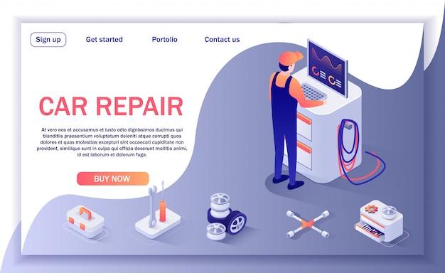 Página de aterrissagem para oficina de reparação de automóveis e serviço de diagnóstico
