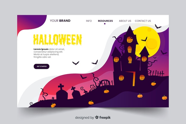 Página de aterrissagem plana assustador de halloween
