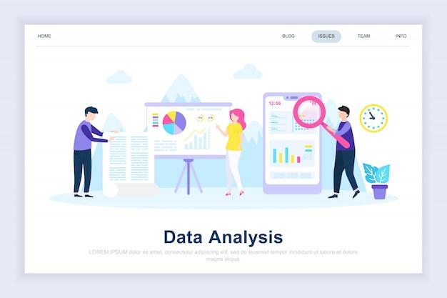 Página de aterrissagem plana moderna da análise de dados