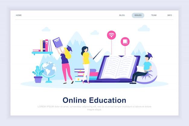 Página de aterrissagem plana moderna de educação on-line