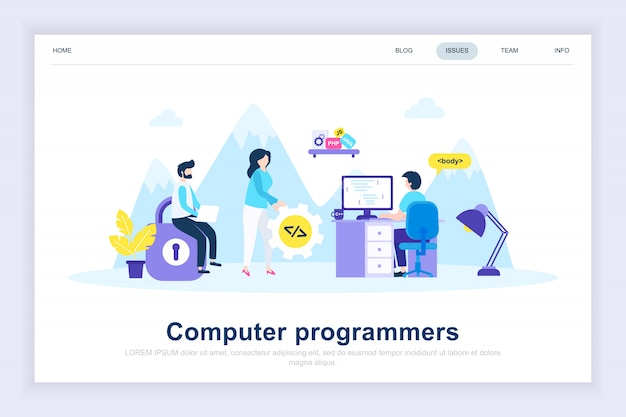 Página de aterrissagem plana moderna de programadores de computador