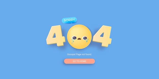 Página de banner de erro 404 com rosto sorridente chorando
